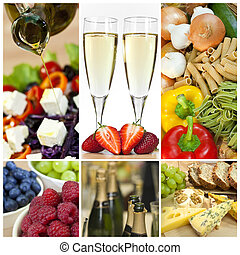 Food and Drink Montage Salad Fruits Pasta Cheese Champagne -...