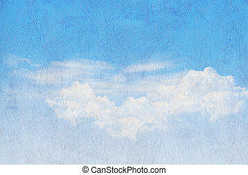 Blue sky on Paper texture background