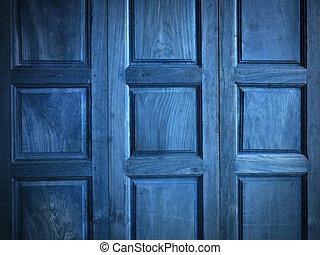 Texture of Blue color Teak wood Door