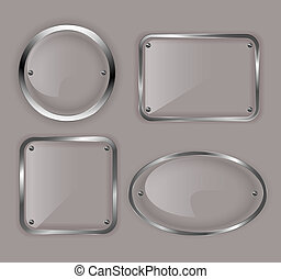 Set of glass plates in metal frames Vector illustration
