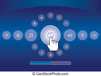 hand icon pushing touchscreen