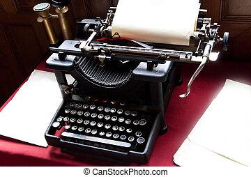vieux, Machine écrire, papier, écrivain