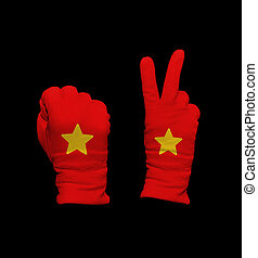 Vietnam flag - Clenched fist in leather glove, and hand with...