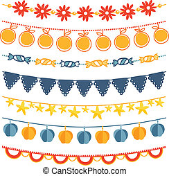 Bunting and garland decoration vector set