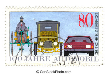 GERMANY - CIRCA 1986: A stamp printed in the Germany, dedicated to the 100th anniversary of the car, shown Benz Tricycle, Saloon Car, 1912 and Modern Automobile, circa 1986