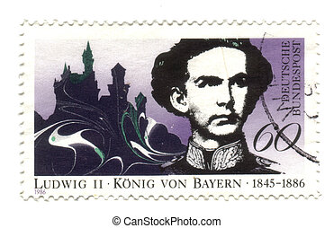 GERMANY - CIRCA 1986: A stamp printed in the Germany, dedicated to Ludvig II, king of bavaria, circa 1986  -