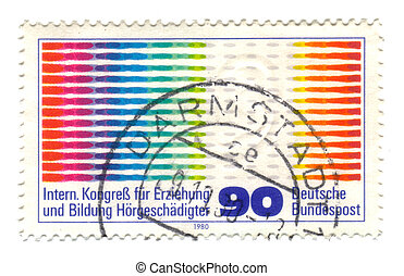 GERMANY-CIRCA 1980 A stamp printed in Germany shows Hard of...