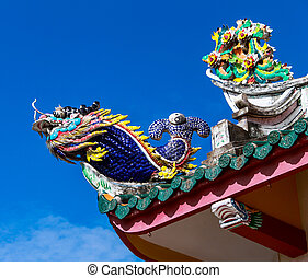 Dragon fish statue on Chinese temple