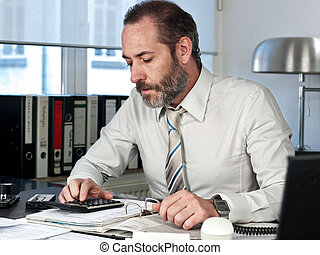 Businessman calculating finance - Mature businessman...