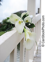 calla lily draped over a white wooden bridge
