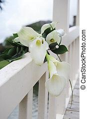 calla lily draped over a white wooden bridge