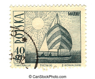 POLAND - CIRCA 1966: a stamp printed in Poland showing ship,...