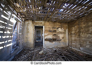 Abandoned - House that was vacated in a ghost town in New...