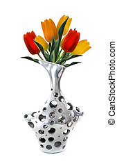 Silver Vase - stylish and modern Silver Vase with tulips...