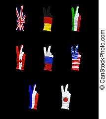 Group of eight - National flags of G8 members on a black...