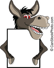donkey cartoon with blank sign - vector illustration of...