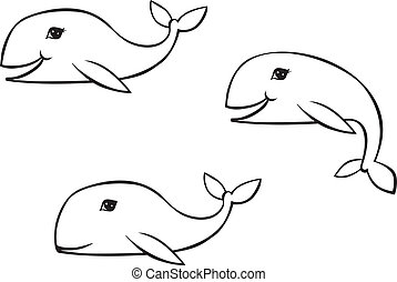 Outline drawing whale - A set of contour images of whales in...