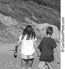 gyalogló, tengerpart, Tizenéves