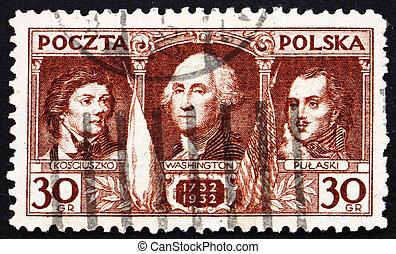 Postage stamp Poland 1932 Kosciuszko, Washington, Pulaski -...