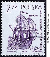 Postage stamp Poland 1964 Dutch Merchant Ship, Sailing Ship...