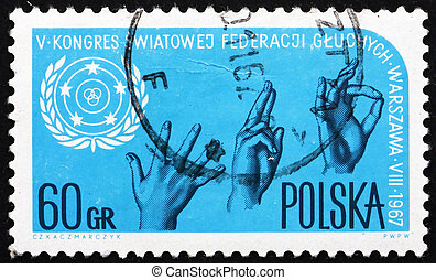 Postage stamp Poland 1967 Sign Language and Emblem - POLAND...