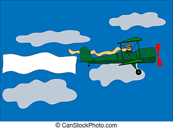 airplane, banner, biplane, vector illustration - vector...