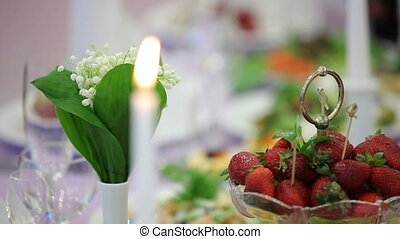 Candle on a dinner table
