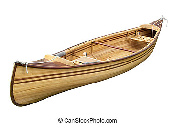 Small rowing boat on white - Small wooden empty rowing boat...