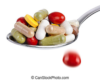 Spoon piled with pills - Medical concept: spoon piled with...