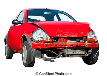 Crashed car on white background - Heavily damaged red car...