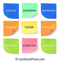 Sticky Notes with Inspirational Messages on White Background