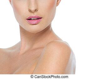 Primer plano, hembra, cuello, labios, aislado, blanco
