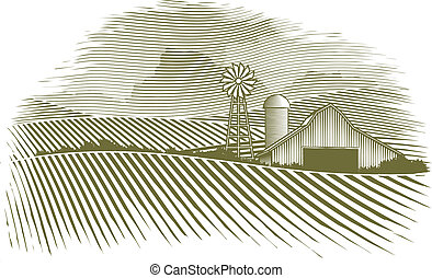 Woodcut Countryside - Woodcut illustration of a barn and...