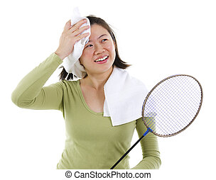 Sweating after badminton - Asian female sweating after...