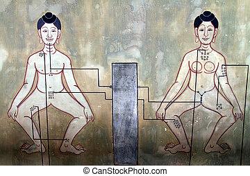 Mural Point massage - Art Mural Point massage man and woman...