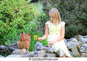 Blonde Girl in the Garden with Chickens