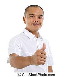 Thumb up Southeast Asian man - Thumb up good looking mature...