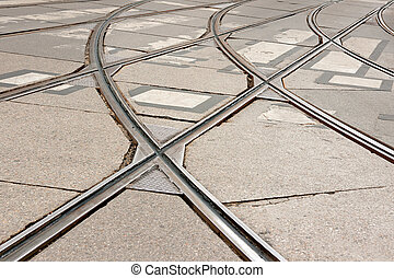 tram tracks - close up of tram tracks crossing each other