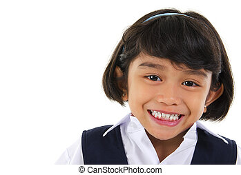 Southeast Asian primary school student - Head shot portrait...