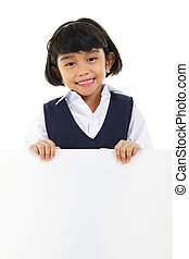 Text here - Southeast Asian schoolgirl holding a white board