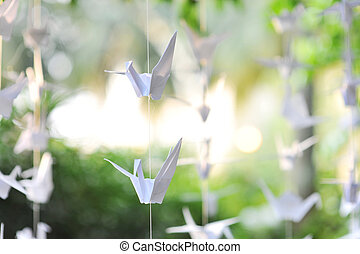 Paper crane - Handmade paper crane decoration hanging for...