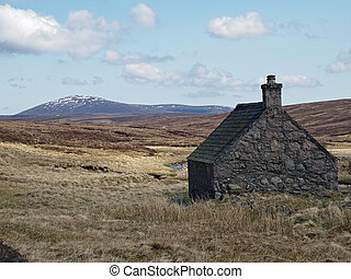 Shielin of Mark bothy, with mount Keen in the background,...