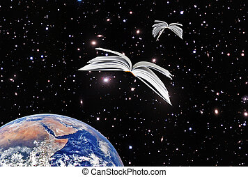 Books flying at cosmos.Elements of this image furnished by...