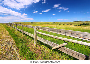Prairie Fenceline South Dakota - Wooden fenceline in the...