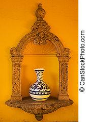 Yellow Adobe Wall Mexico - Yellow Adobe Wall Blue White Vase...