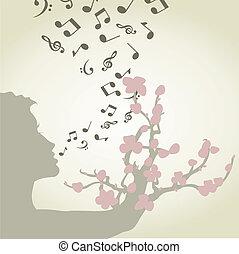 cantando, mulher