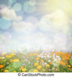 Abstract nature background with flower field