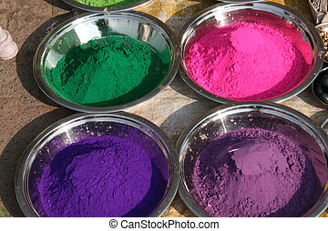 Indian paints - Colorful paints on Indian bazaar for...