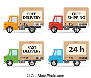 Delivery truck isolated on white background side view
