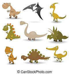 Dinosaurs set - Funny cartoon dinosaurs set for web design